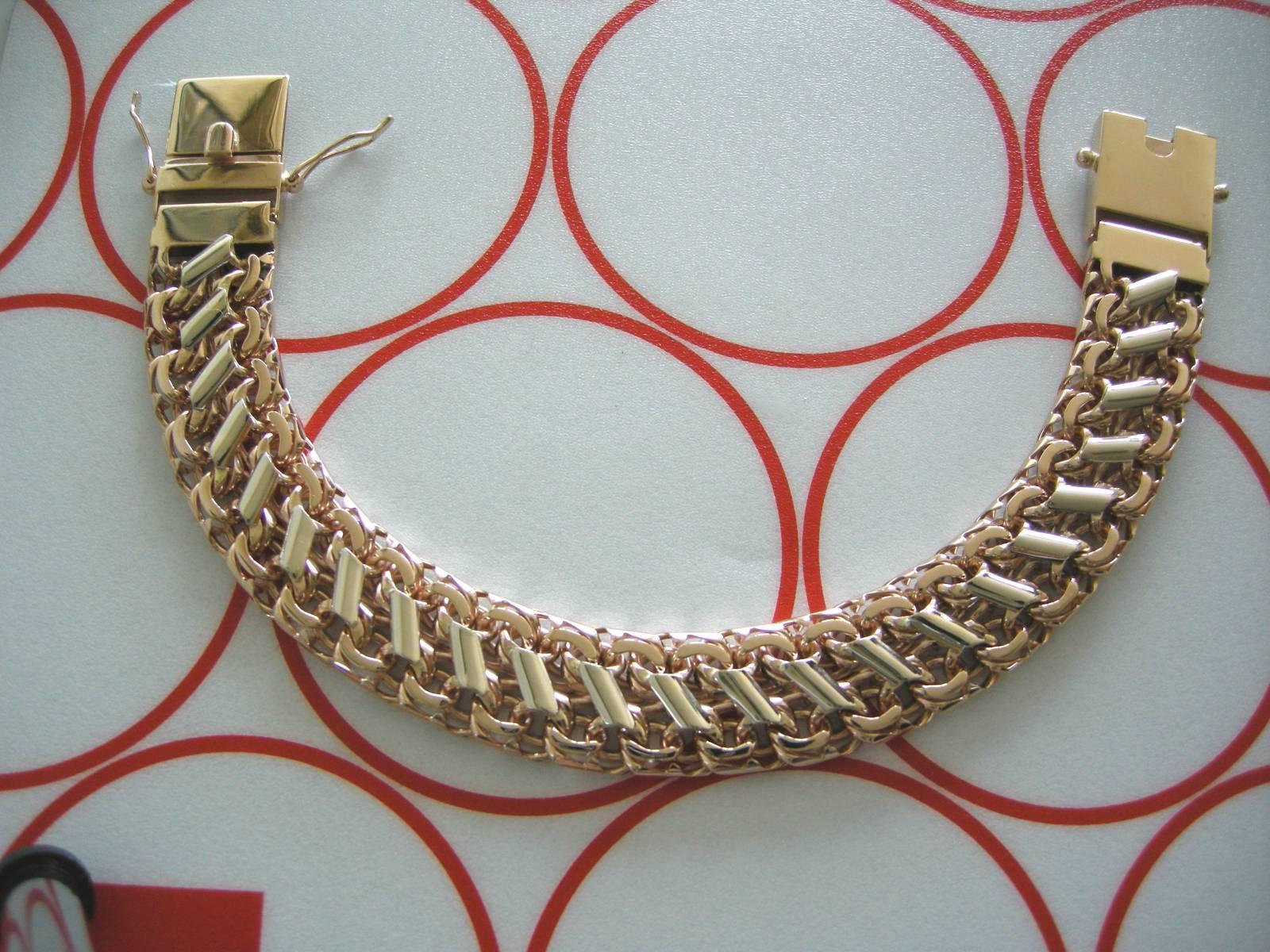 Золотой браслет плетение бисмарк фото 6